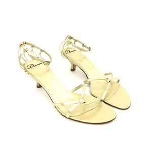 Delman Gold Leather Strappy Sandal Heels